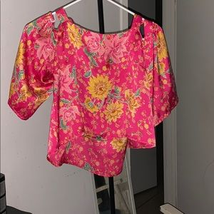 Forever 21 Crop Tie Top Blouse